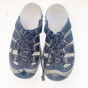 Keen Slide On Bungee Cord Black Sandals